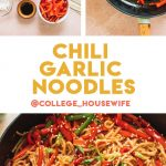 sliced veggies and chili garlic sauce ingredients, stir fried lo mein noodles in cast iron skillet