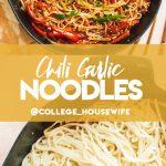 chili garlic noodles recipe in cast iron skillet, lo mean noodles