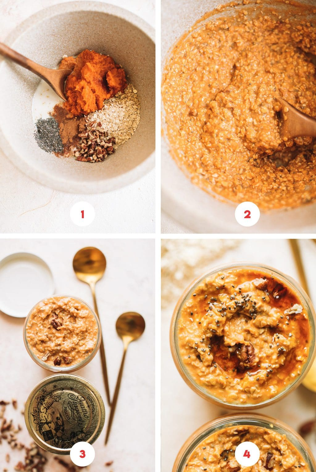 four grid step by step photos of pumpkin overnight oats recipe