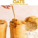 gold spoon dipped in jar of creamy pumpkin overnight oats in glass jar
