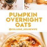 pumpkin pie overnight oats in glass jar topped with maple syrup and pecans