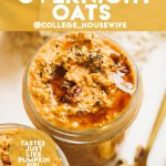 healthy and meal prepped overnight oats with pumpkin topped with maple syrup and pecans