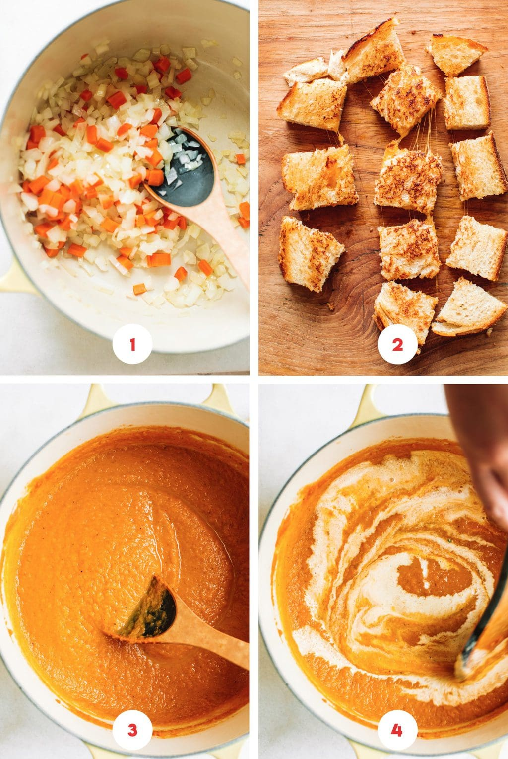 step by step grid photo of making pumpkin soup in Dutch oven and cubed grilled cheese croutons