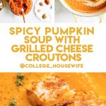 pumpkin soup ingredients, stirring cream into pumpkin soup, vegetable soup topped with grilled cheese croutons