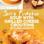 stirring cream into easy pumpkin soup recipe, grilled cheese croutons, pumpkin soup