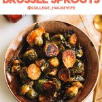 crispy brussels sprouts with sweet and spicy glaze in brown bowl with gold spoon