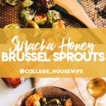 brussels sprouts with honey sriracha glaze on baking sheet and in bowl with gold spoon