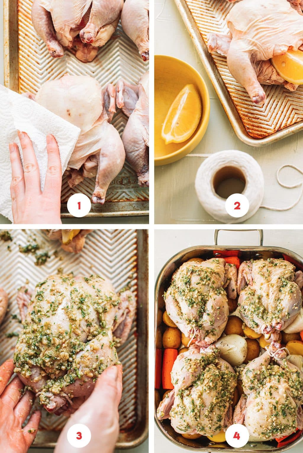 Step-by-step, 4x4 image showing how to dry Cornish hens and coat with herb and butter mixture before baking