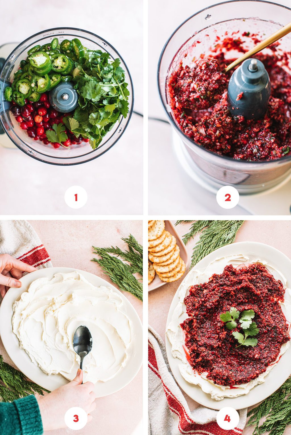 Step by step to make cranberry jalapeno dip.