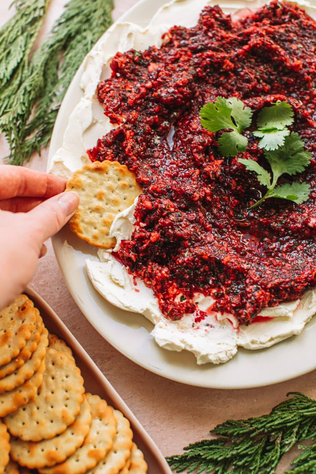 Hand dipping cracker in red jalapeño cranberry dip with cream cheese spread on white plate next to dish of crackers