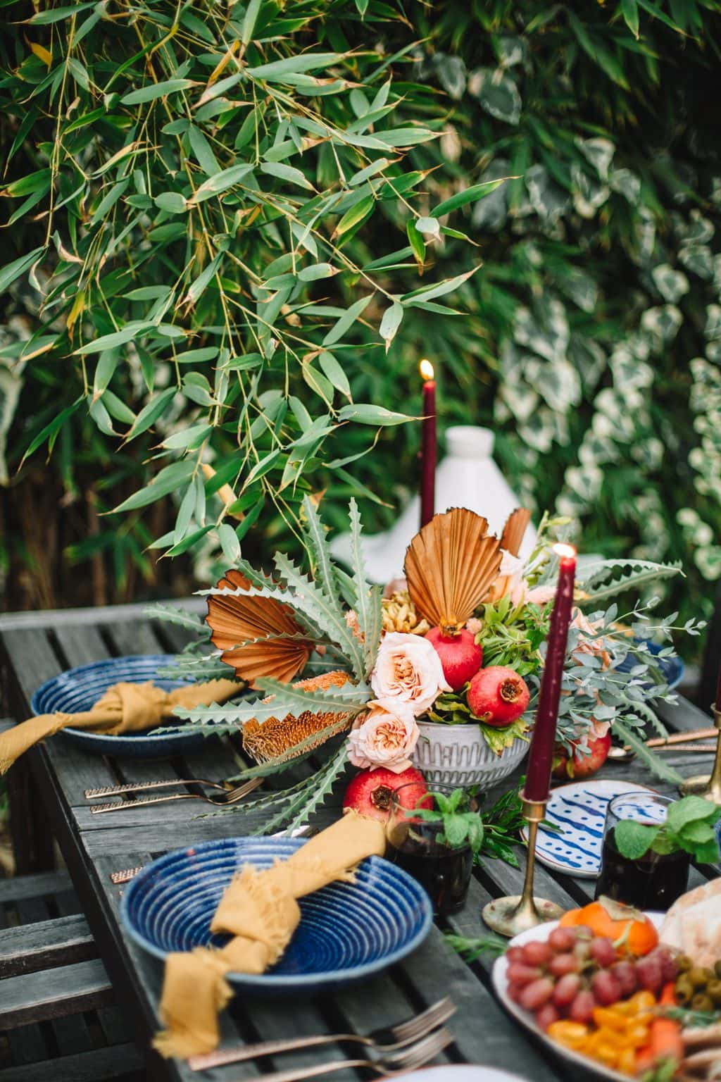 top shot of moroccan dinner party tablescape