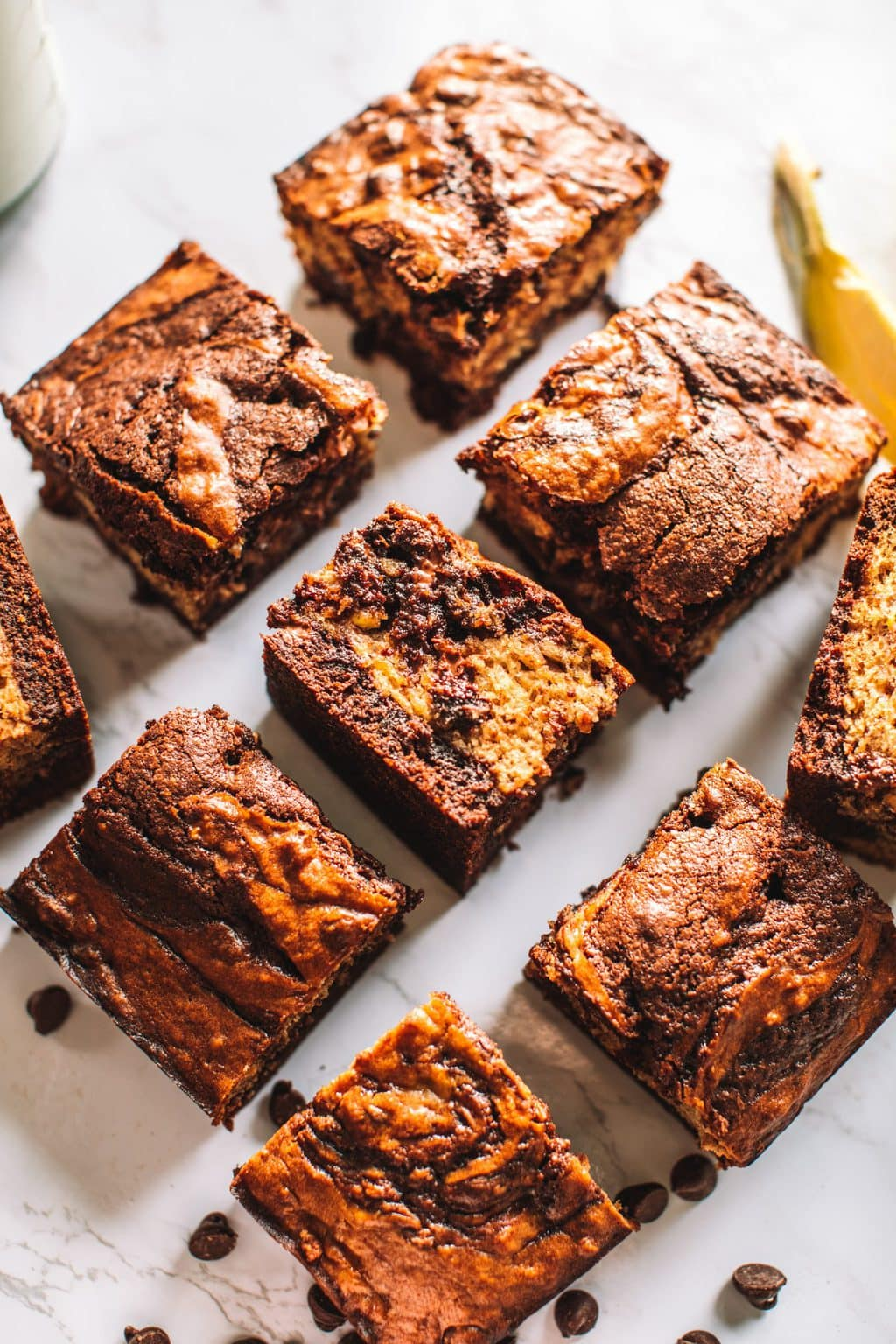 Banana bread brownies sliced into nine squares.
