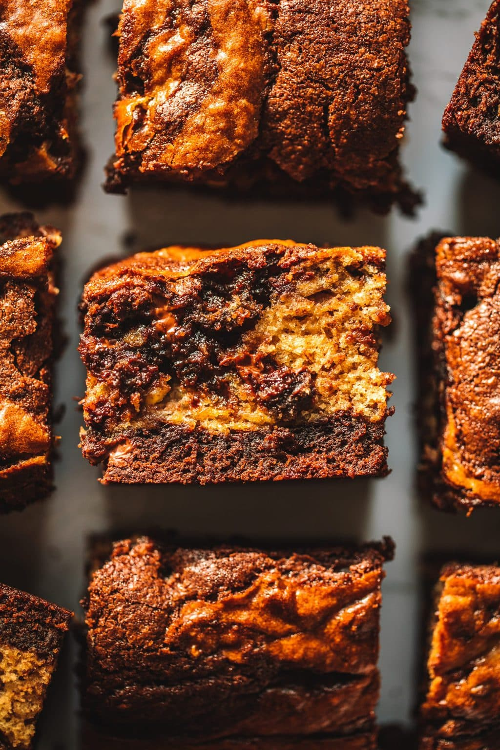 A single banana bread brownie with a fudgy center.