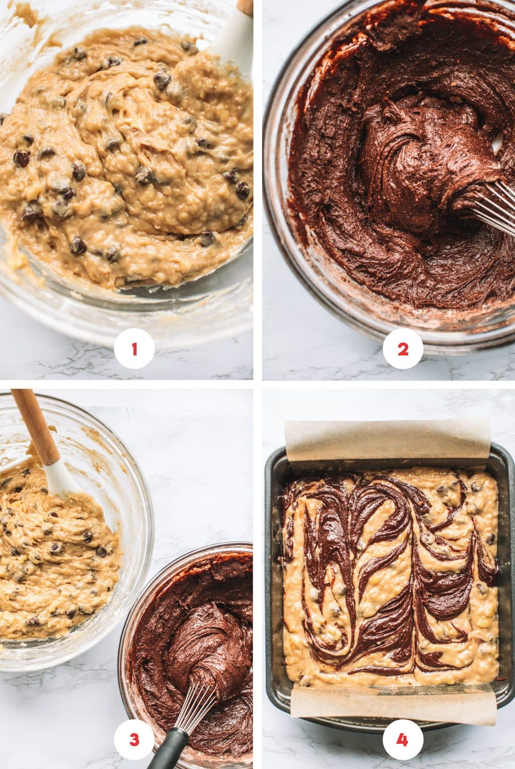 Bowls of banana bread batter, brownie batter, and swirled together in the brownie pan.