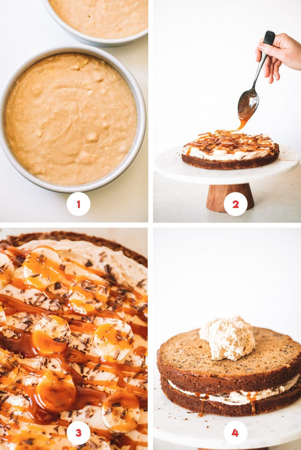 Step by step photos of how to make banoffee cake.