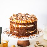 Finished banoffee cake on cake stand.