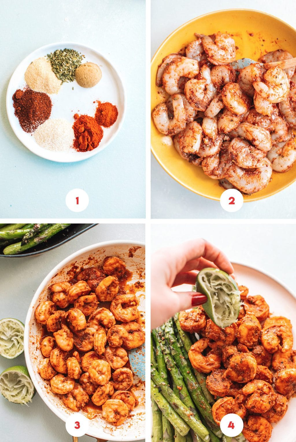 Step by step images showing how to make blackened shrimp.
