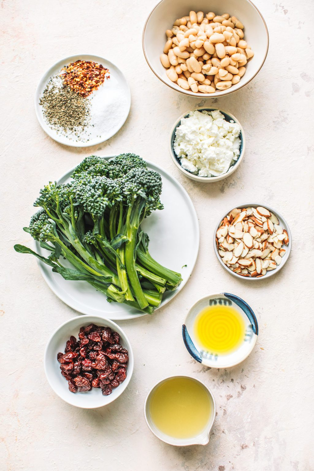 Top shot of broccoli, white beans, almonds, cranberries and other ingredients laid out on countertop.