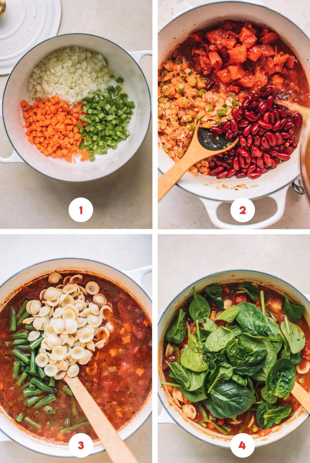 Step by step photos showing how to make Minestrone Soup Olive Garden Style.