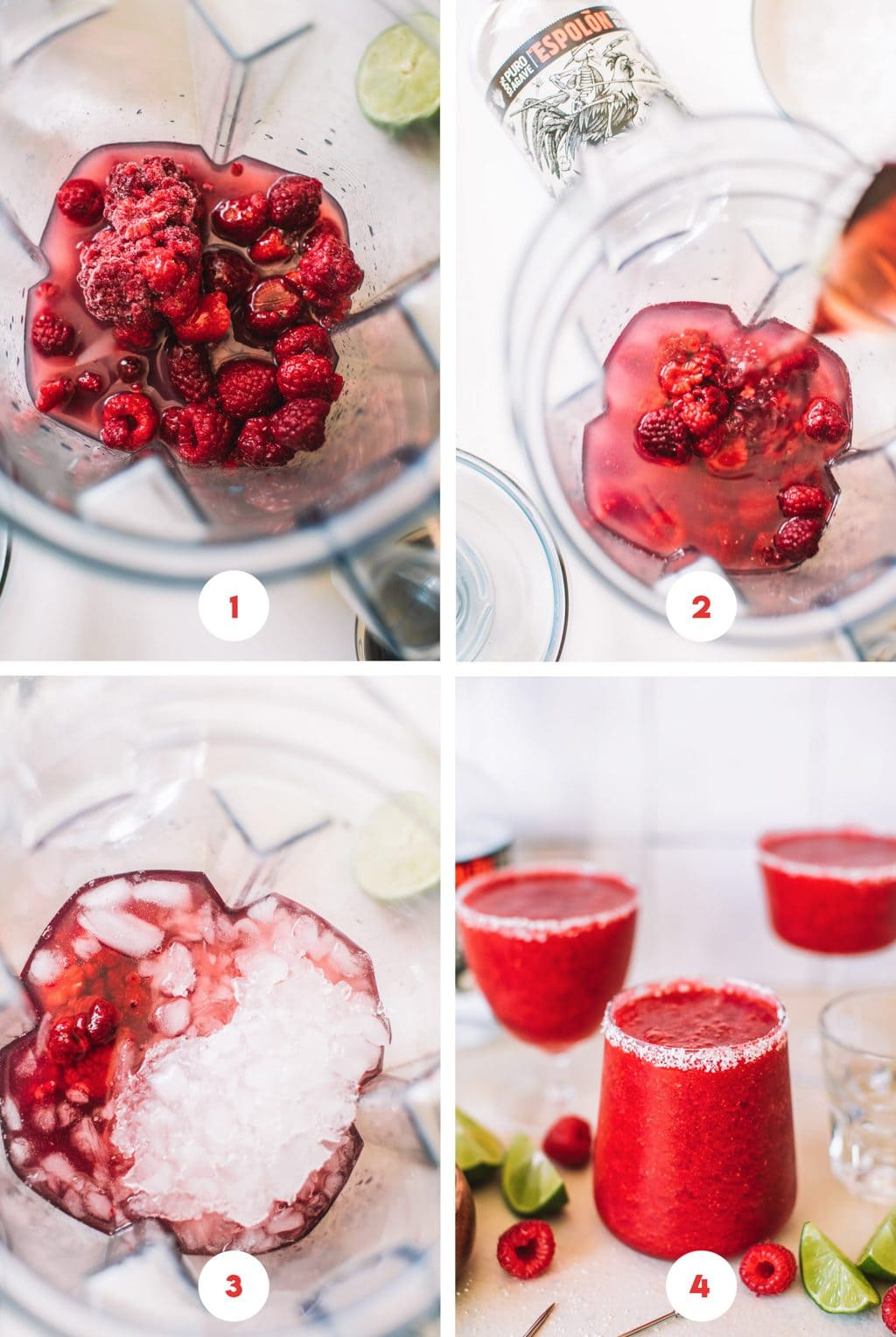 Step by step way to make frozen raspberry margaritas