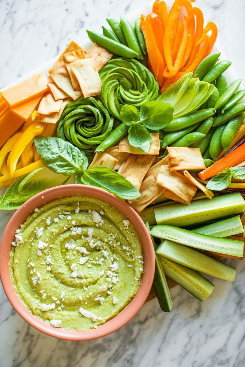 Healthy Snack Board with Avocado Dip