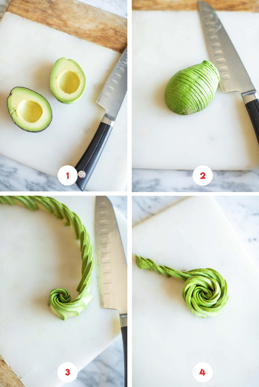 Step by step process on how to make an avocado rose.