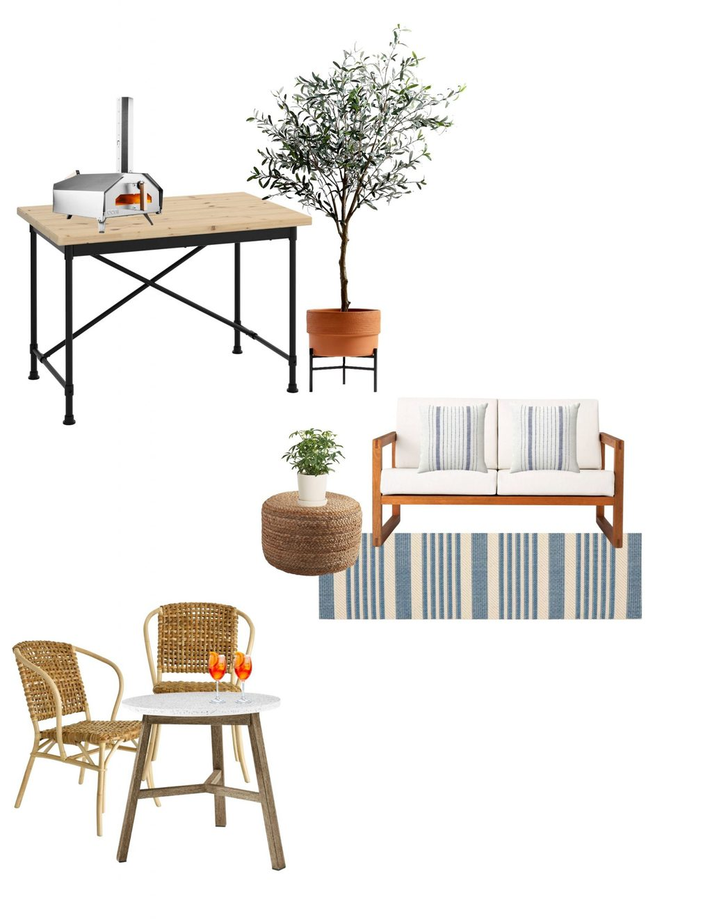 A mood board for the patio makeover project.