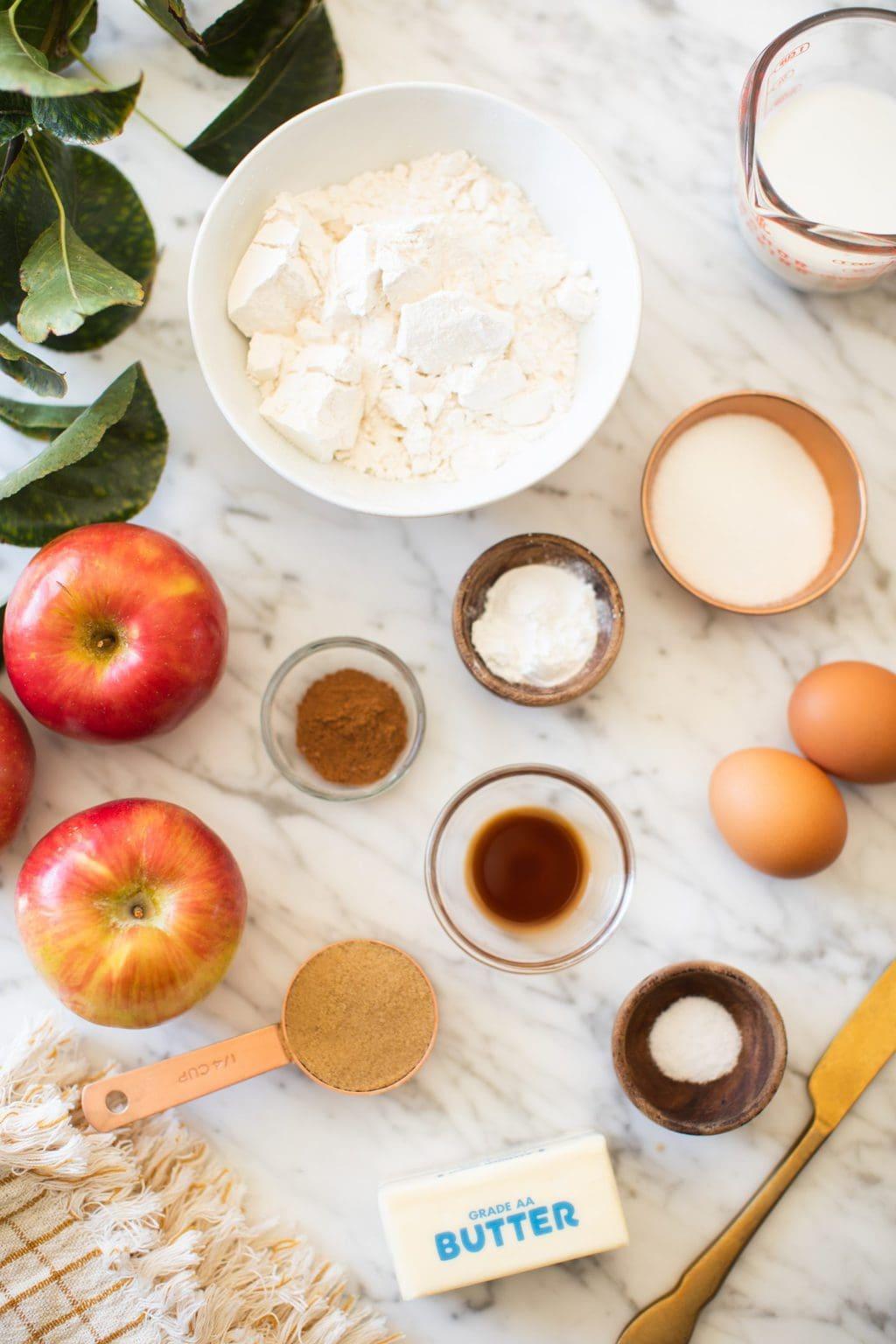 flour, sugar, eggs, cinnamon, vanilla, apples, brown sugar