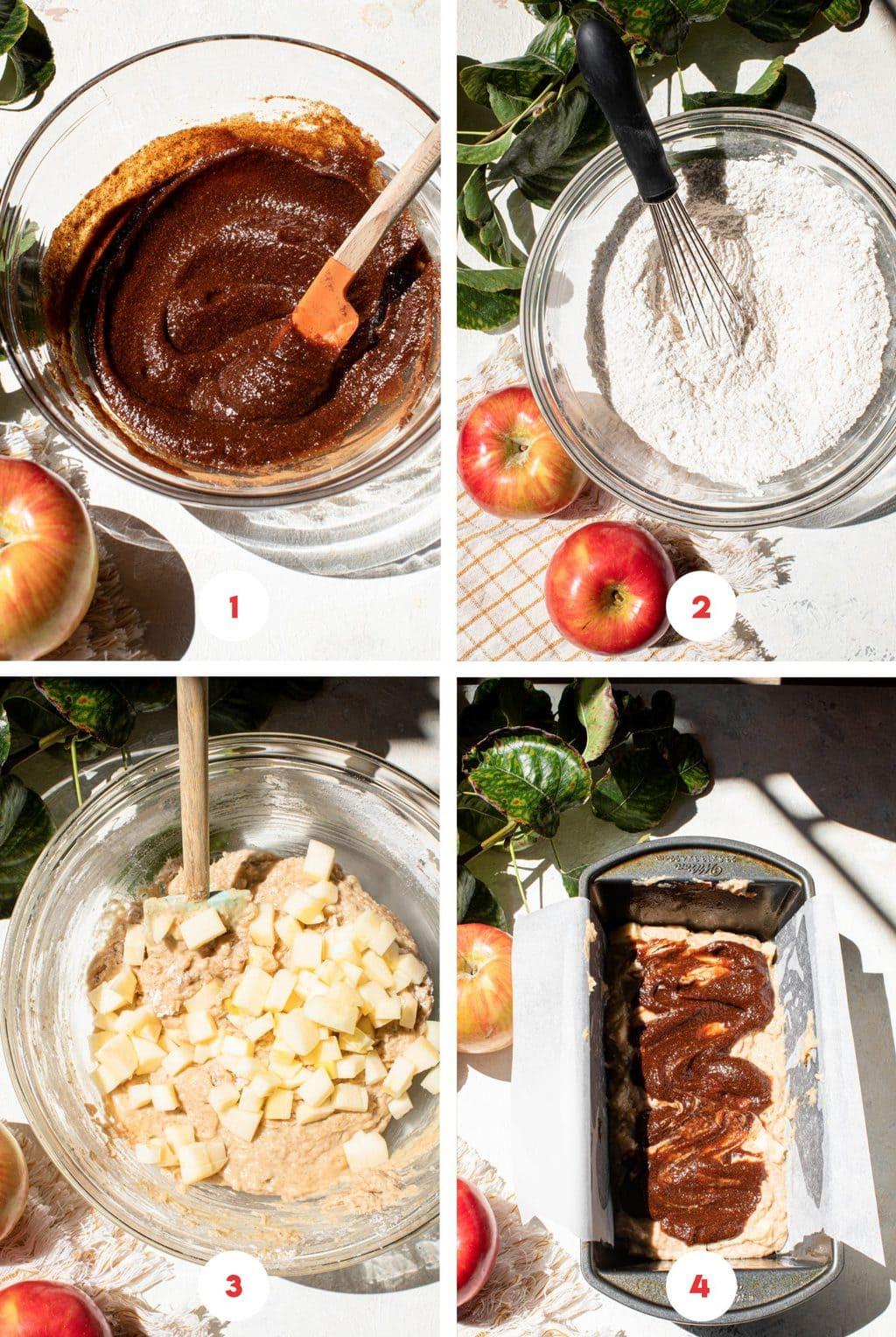 four step grid making apple butter loaf cake