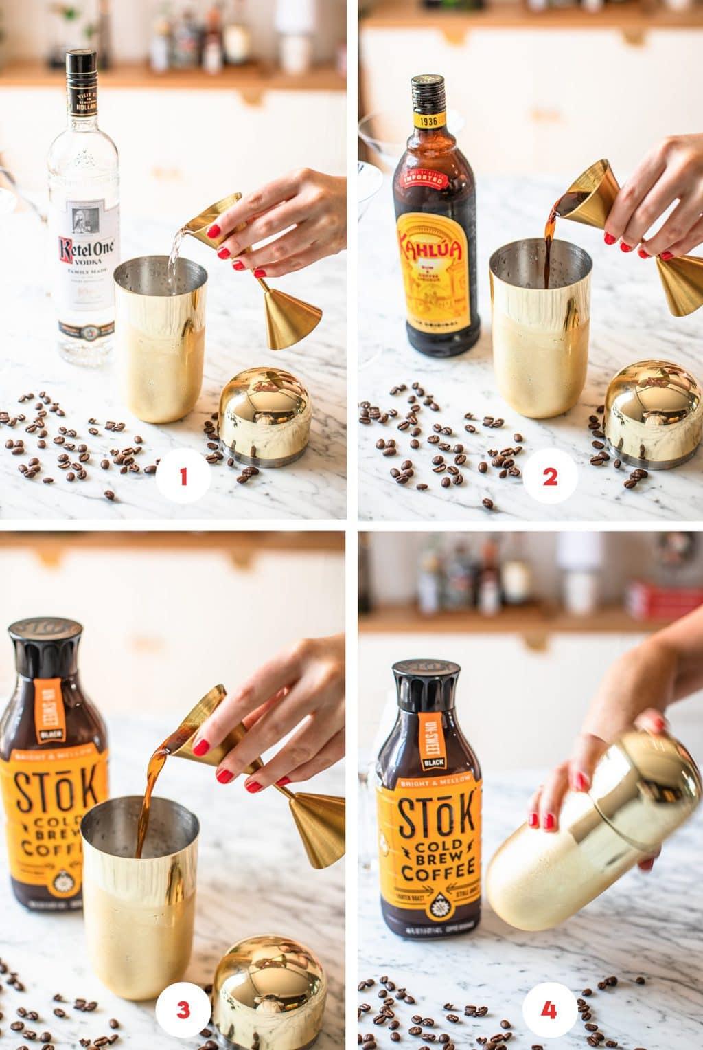 four step grid making espresso cocktail