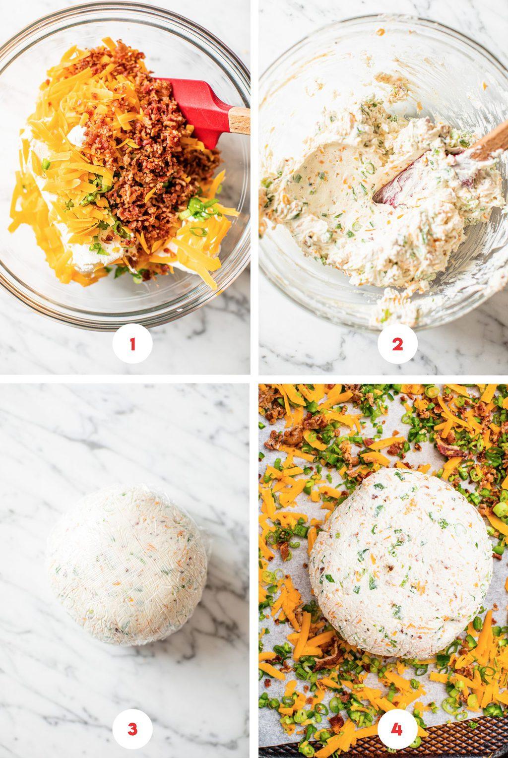 four step grid making cheese ball recipe