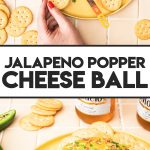 knife dipped in jalapeno cheese ball on platter with crackers