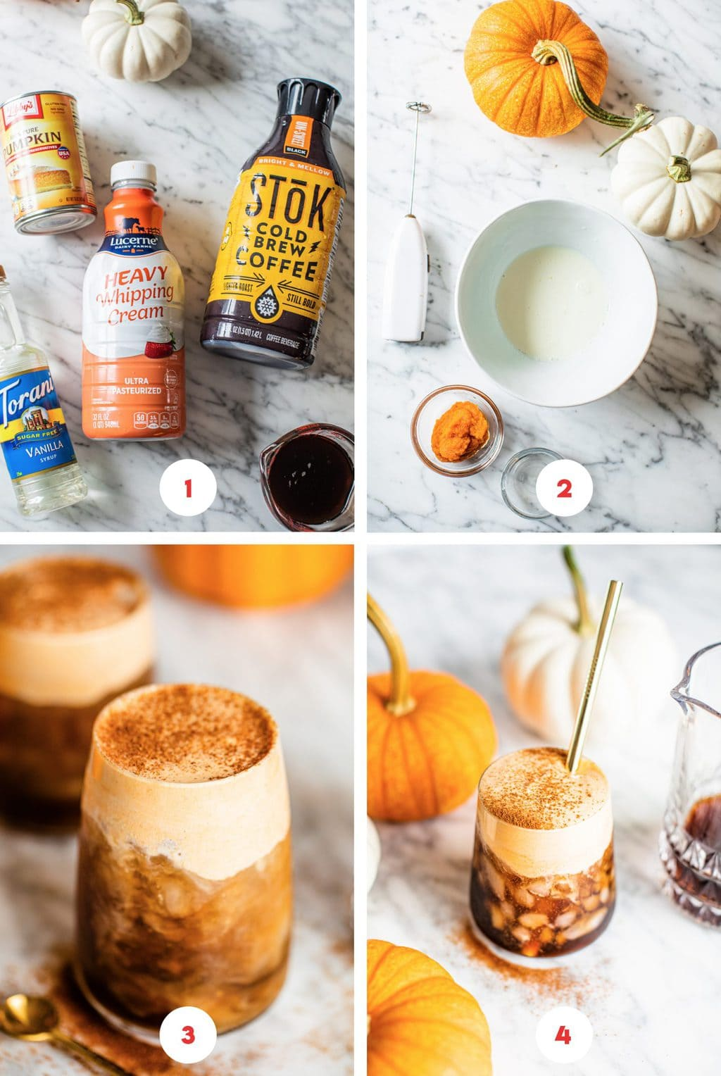 four step grid for pumpkin spice cold brew