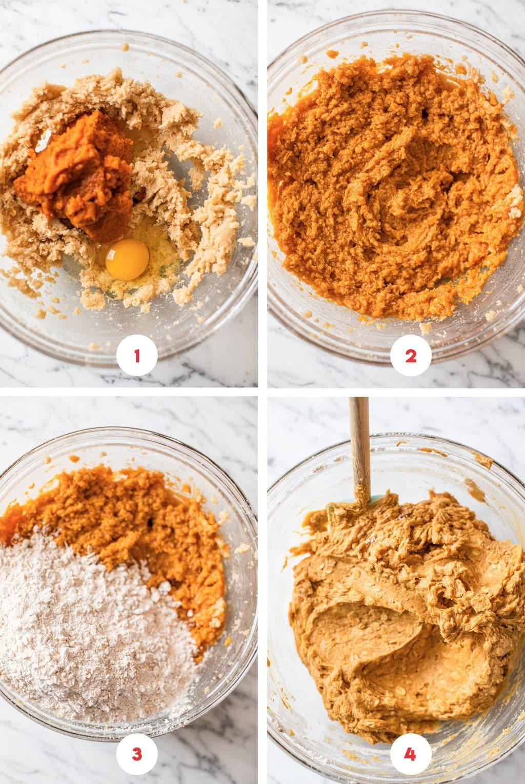 four step grid make pumpkin cookie batter