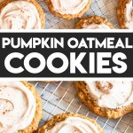 pumpkin oat cookies with frosting on cooling rack