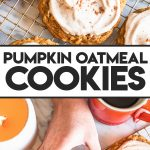 hand grabbing giant pumpkin oat cookie with icing
