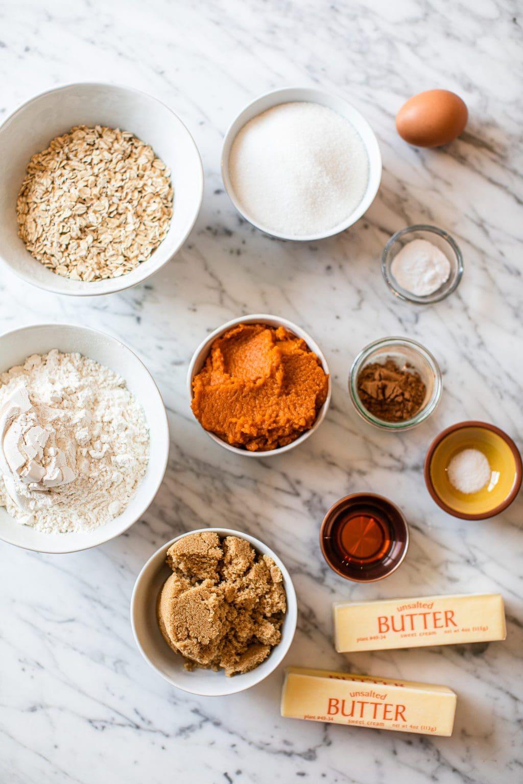 rolled oats, sugar, flour, pumpkin puree, brown sugar, cinnamon, salt, butter