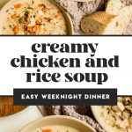 creamy chicken and rice soup in two bowls