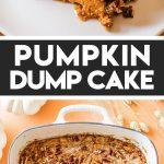 pumpkin dump cake in a white casserole dish