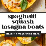 spaghetti squash filled with meat, sauce and cheese on baking sheet